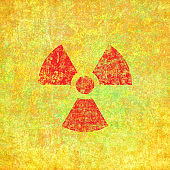 Radiation sign on a damaged surface