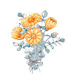 hand drawn watercolor bouquet of flowers from calendula and eucalyptus