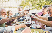 Happy trendy family cheering with red wine at barbecue dinner outdoor - Different age of people having fun at sunday meal - Food, taste and summer concept - Focus on right bottom hand glass
