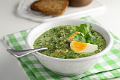 Spinach soup with mushrooms