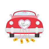 Red wedding car seen from behind with heart decoration and Just Married written on it. Wedding icon concept Vector illustration