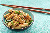 Chinese and Korean yuba salad with green onion and sesame seeds