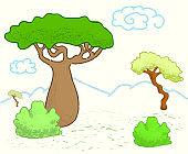 African savanna landscape with trees. Cute giraffe vector illustration.