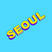 Seoul text with 3d isometric effect