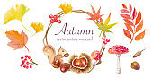 Autumn nature vector materials such as squirrels and chestnuts Wreath materials (rowan, fly agaric)