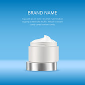 Open blank realistic cream container. Mockup, ads template, cosmetic package, jar vector illustration on blue background
