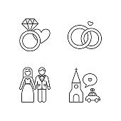 Wedding icons set: engagement, marriage, bride and groom, ceremony