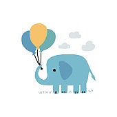 Elephant with balloons Childish print. Vector children's illustration