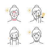 Skin damage UV protection sun block vector illustration