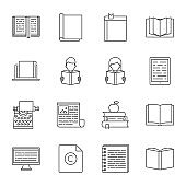 Reading set of vector icons