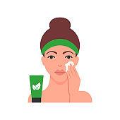 Woman applying organic cosmetics vector illustration