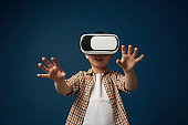 Child with virtual reality headset