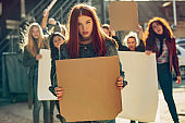 Young people protesting of women rights and equality on the street
