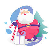 Santa Claus with Christmas Candy Cane