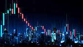Double exposure cityscape and graph candle stick. Technical price candlestick chart graph and indicator stock future online trading