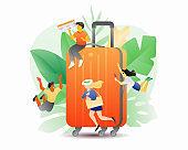 Orange Suitcase and Tiny People