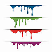 Different paint dripping, abstract blob. Vector illustration.