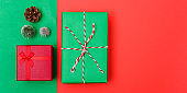 New Year, Christmas Xmas holiday composition, Top view with gift box, clews of rope, green fir tree branch