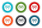 User group icon flat vector illustration design round buttons collection 6 concept colorful frame simple circle set