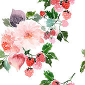 Seamless summer pattern with watercolor flowers, raspberries, figs