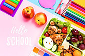 School supplies and lunchbox