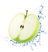 Half of Green Apple with Water Splashes Isolated on White Background