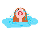 Woman crying puddle. Sad girl in puddle of tears