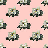 Beautiful Magnolia Painting Acrylic seamless pattern. Hand Drawn jungle nature, flowers illustration. Print for textile, cloth, wallpaper, scrapbooking