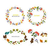 Vector wreath set made with branches, leaves and flowers in flat style.