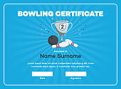 Modern second place bowling certificate diploma with a silver winning cup and place for your content