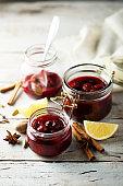 Cherry jam with cinnamon
