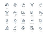 Set of line business icons isolated on light background