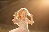 Portrait of a beautiful little princess girl in a pink dress. Posing in a field at sunset