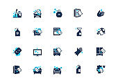 Set of cleaning icons with blue accent, isolated on light background
