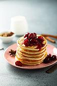 Pancakes with cherry sauce