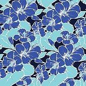 Lemon blossom drawing seamless pattern