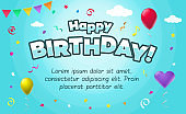 Happy birthday card template with colorful balloons, ribbons and place for your content