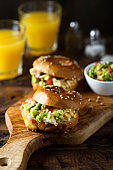 Homemade bagels with guacamole