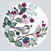 Vector illustration of a cute bird with berries.