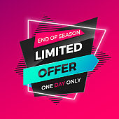 Bright modern Limited Offer banner for advertising discounts. Vector template for design sale poster.