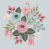 Vector illustration of a beautiful floral bouquet with frame in spring.