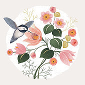 Vector illustration of a beautiful floral bouquet in spring. Design for banner, poster, card, invitation and scrapbook