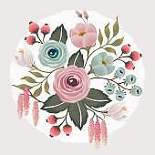 Vector illustration of a beautiful floral bouquet in spring.