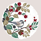 Vector illustration of a cute bird with berries. Design for banner, poster, card, invitation and scrapbook