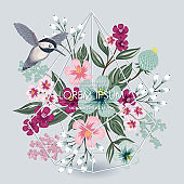 Vector illustration of a beautiful floral bouquet with a bird in spring.