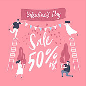 Sale discount banner for Valentines Day. Special offer poster with lovely couple Celebration.