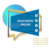 Online education design concept poster.  Modern banner for E-learning,  elearning,  course.. Smart app logo. Template  Development Landing Front page mobile website. Vector illustration.