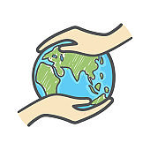 Hand holding the globe hand drawn doodle icon. Ecology care and eco friendly concept.