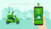 Food delivery service by scooter with courier. Hand holding mobile application tracking a delivery man on a moped. city skyline in the background.