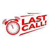 Last call with alarm clock, Sale promotion campaign countdown.